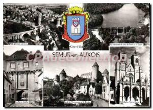 Modern Postcard Semur-en-Auxois Lake Bridge view Gnrale Church Dungeon Gate G...