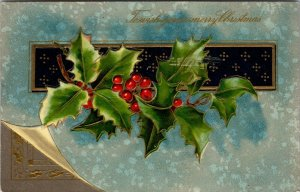 Wish You Merry Christmas - Holly Embossed Gold  - POSTCARD PC POSTED embossed