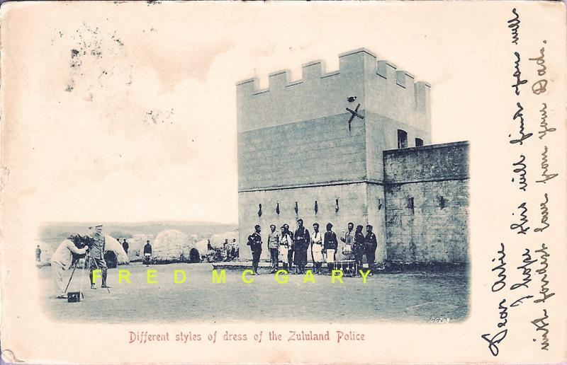 1904 Natal Postcard: Zululand Police Stand Near Fortification