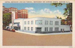 Syracuse New York Central Greyhound Bus Terminal Antique Postcard K82773