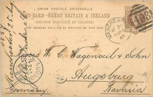 Entier Postal Stationery Postal Great Britain Great Britain 1887 Manchester t...