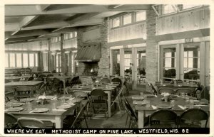 WI - Westfield. Methodist Camp on Pine Lake, Dining Room    RPPC