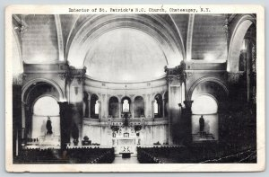 Chateaugay New York~St Patrick's Roman Catholic Church Interior~1940s B&W PC