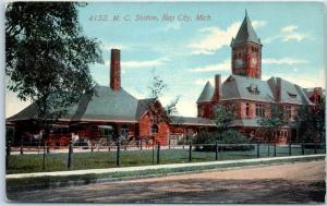 Bay City MI Postcard Michigan Central Railroad Depot Train Station 1914 Cancel