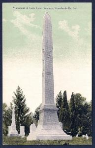 Lew Wallace Monument Crawfordsville Indiana unused c1910's