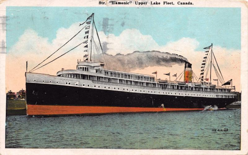 STEAMERSHIP HAMONIC UPPER LAKE FLEET CANADA POSTCARD c1925