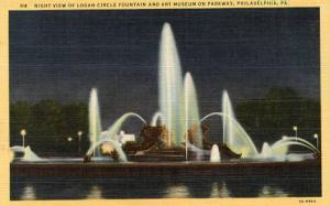 PA - Philadelphia. Logan Circle & Art Museum at Night
