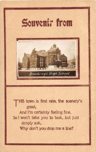 F12/ Brookings South Dakota Postcard RPPC c1910 High School Building 6