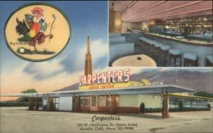 Arcadia CA Carpenter's Dining Room Chicken in the Rough LINEN Postcard