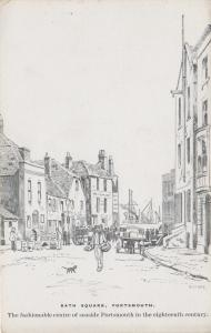 Bath Square, Old Portsmouth, England - Drawing - Unused