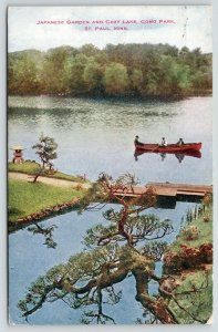 St Paul MN~Ramshackle Bridge~Como Park~Japanese Garden~3 in Rowboat Fishing 1909