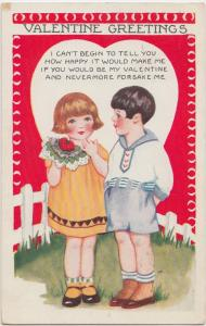 VALENTINE'S DAY Love Postcard Holiday 1931 BOY GIRL Heart 174