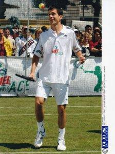 Tim Henman Tennis in Trafalgar Square London 2005 Press Photo