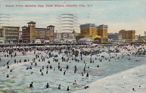 New Jersey Atlantic City Beach Front Showing New Hotel Strand 1912