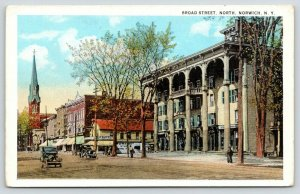 Norwich NY~Broad Street Hotel~Garage on Corner~Dance Hall?~Church~Cars~c1916