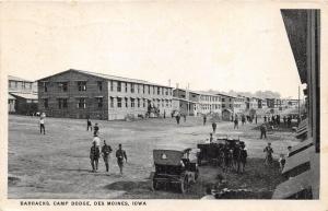 Des Moines Iowa~Camp Dodge Barracks~Soldiers Walking Around~Cars in Street~c1910