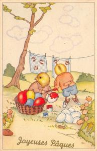 Fantasy Easter~Dressed Chicks Paint Eggs~Wipe Prints on Laundry~1946 Belgium