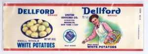 Dellford Small White Potatoes Brooklyn NY Vintage Can Label