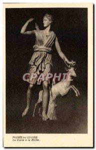 Old Postcard Louvre Museum paris Reveille and doe