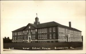 Greenville ME New School House Real Photo Postcard