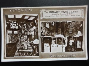 CONWAY The Smallest House KITCHEN & BEDROOM - Old RP Postcard by Mrs Williams