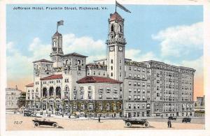 C53/ Richmond Virginia Va Postcard c1920 Jefferson Hotel Franklin Street