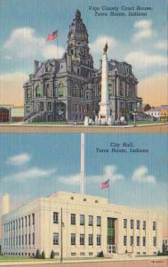 Indiana Terre Haute City Hall and Vigo County Court House Curteich