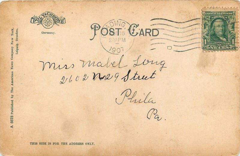 Reading Pennsylvania~St Josephs Hospital on Hillside~1907 Postcard