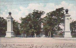 Maine Portland Gateway To Deering Oaks 1907