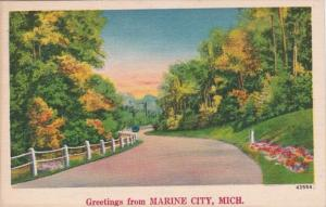 Michigan Greetings From Marine City 1954