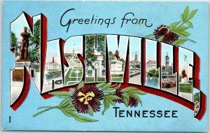 NASHVILLE Tennessee Large Letter Postcard Blue Background Multi-View Kropp Linen