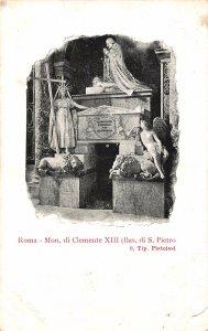 Italy Roma Mon di Clemente Statues Postcard