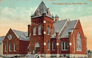 PORT ARTHUR ONTARIO CANADA~FIRST BAPTIST CHURCH~1917 PSTMK POSTCARD