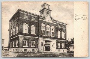 Rochester New Hampshire~City Hall Close Up~FP Meader Pub~1911 B&W Postcard