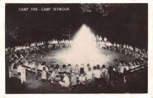 Gig Harbor Washington~Camp Seymour~Giant Circle~Kids Around Camp Fire~1940 RPPC