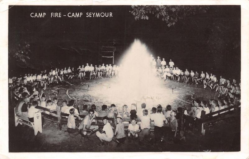 Gig Harbor Washington~Camp Seymour~Giant Circle~Kids Around Camp Fire~1940 RPPC