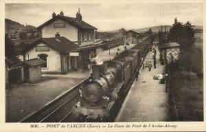 france, PONT DE L'ARCHE, La Gare, Railway Station, Steam Train (1920s)