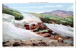 YELLOWSTONE, ACTION OF HOT WATER, MINERVA TERRACE HOT SPRINGS, DIVIDED BACK