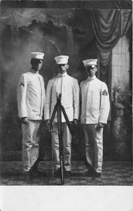 St Peter Minnesota~GAC-Gustavus Adolphus College~3 Sailors~Navy~c1907 RPPC