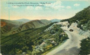 Bakersfield California Ridge Route Red Rock Mountain Los Angeles Postcard 9806