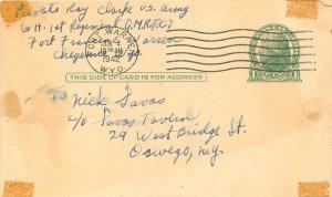 Entier Postal 1942 Fort Warren Postal Stationay
