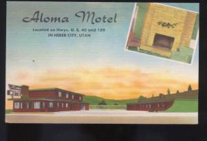 HEBER CITY UTAH ALOMA MOTEL INTERIOR ROOM VINTAGE LINEN ADVERTISING POSTCARD