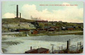 Great Falls Montana~B&M Copper Smelter Across River~Mine~Smoke Stacks~1913