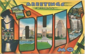 Vintage Postcard Large Letter State Souvenir - St. Louis MO Saint Louis Missouri