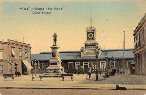 Plaza y Estatua San Martin Callao (Peru) Depot c1910s Vintage Postcard