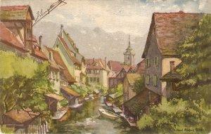 Colmar, France. La Petite Venise  Fine art, viontage Swiss Postcard