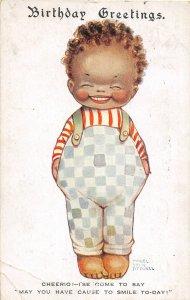 G4/ Black Americana Postcard Comic c1910 Birthday Greetings Boy 27