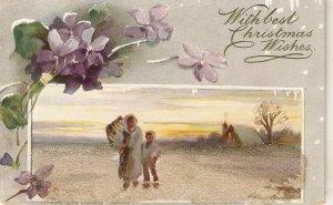 Figures in winter landscape. Flowers Tuck Oilette Christmas PC # 8388