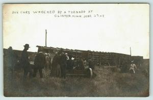 Clinton Minnesota~Railroad Box Cars Overturned~Wrecked by Tornado~1908 RPPC