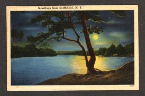 NY Greetings SOUTHFIELD NEW YORK Postcard PC Moonlight
